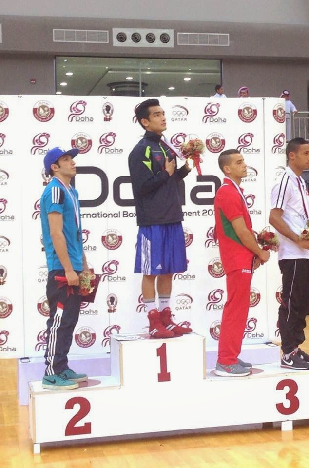 Shiva Thapa after winning Gold at the Doha International boxing tournament Listening National Anthem