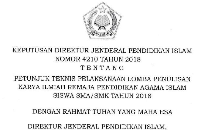 JUKNIS PENULISAN KARYA ILMIAH REMAJA PENDIDIKAN AGAMA ISLAM SISWA SMA/SMK TAHUN 2018.