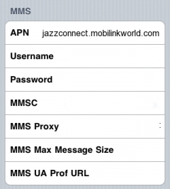 jazz Mobilink internet setting for IOS IPhone Apple