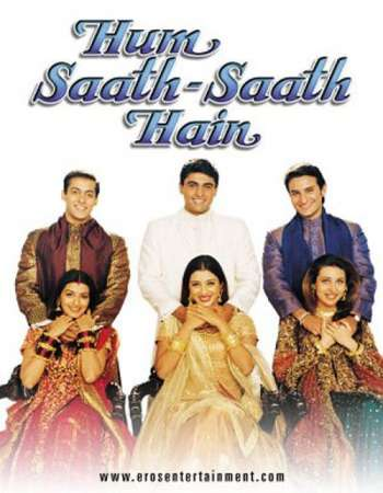 Poster Of Hum Saath Saath Hain 1999 Hindi 650MB DVDRip 720p ESubs HEVC Watch Online Free Download Worldfree4u
