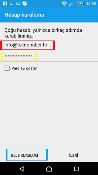 android e-posta hesap kurulumu