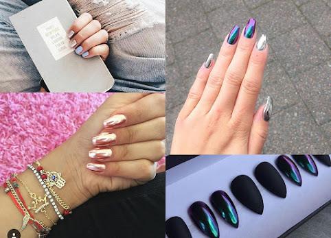 Chromowane paznokcie, Chrome Effect, lustrzane paznokcie - zdjęcia. HIT czy KIT? Jak zrobić metaliczne, chromowane paznokcie? Pyłki do paznokci.