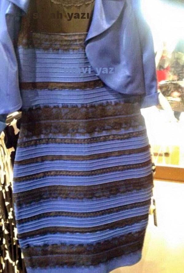 mavi+siyah+sarı+beyaz+görünen+elbisenin+sırrı