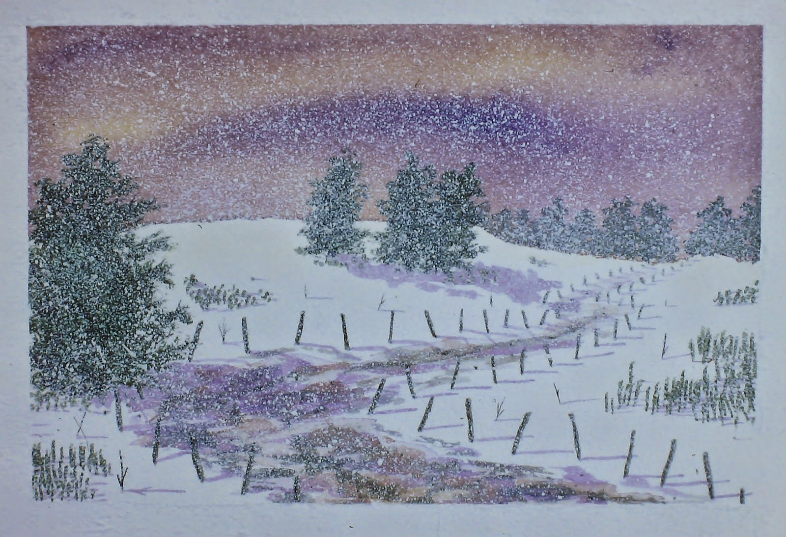 Northern Lights, Back Road, near Little Keithock Farmhouse, Angus, Scotland  30x40 inches. Watercolor on paper, c. 1992.  In a private collection in Seattle, Washington