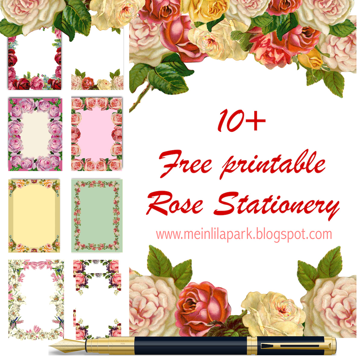 photograph relating to Printable Stationeries named 10+ Free of charge printable rose stationeries - ausdruckbares