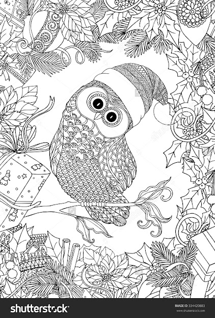 Coloring Book For Adult And Older Children Coloring Page With Cute Owl In  Santa Claus Cap And Christmas Wreath Frame Outline Drawing In Zentangle  Style