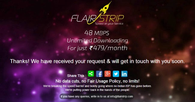 FlairStrip offering 48Mbps broadband in delhi @ Rs.479 per month with no FUP