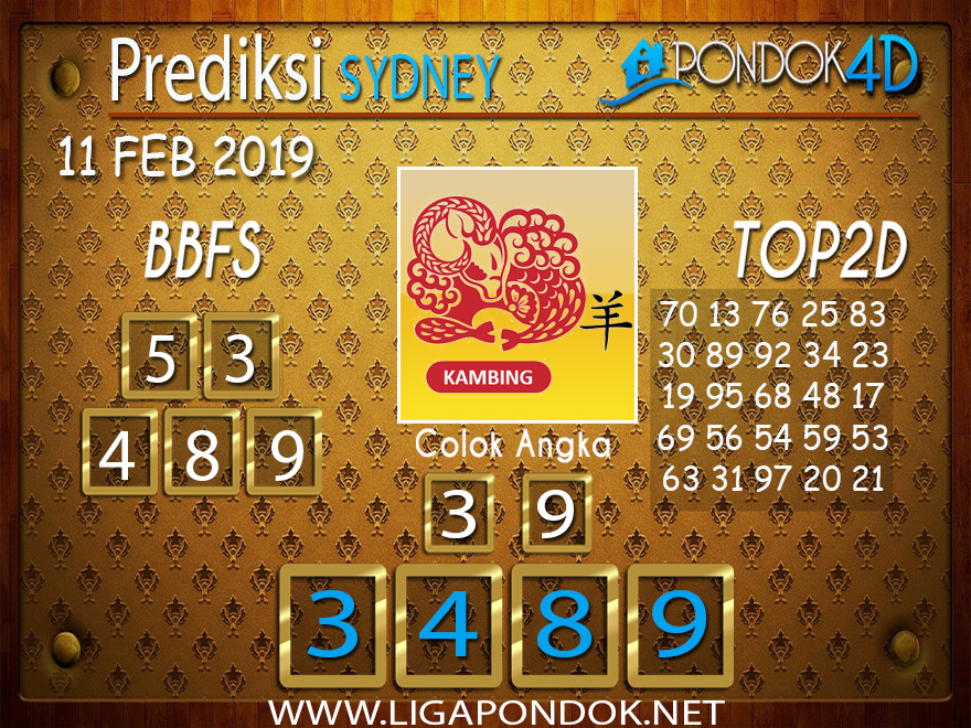 Prediksi Togel SYDNEYPONDOK4D 11 FEBRUARI 2019
