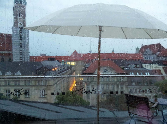 Rainy day, view at Munich from the Blue Spa in Munich