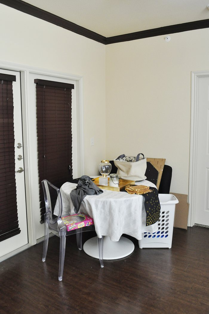 A Boring And Small Beige Dining Space In An Apartment Gets Glam Makeover No