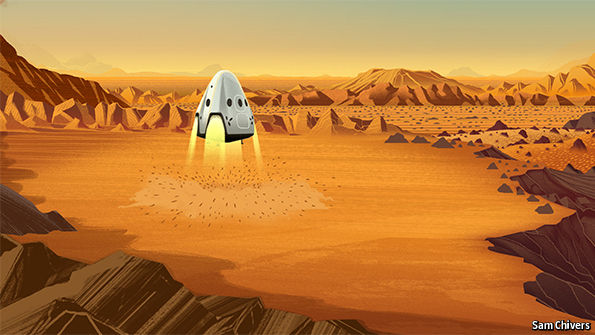 SpaceX Red Dragon landing on Mars by Sam Chivers