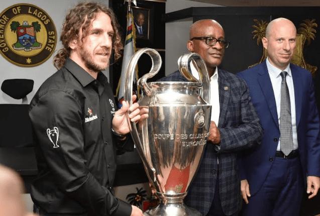 Ambode receives UEFA Champions League trophy