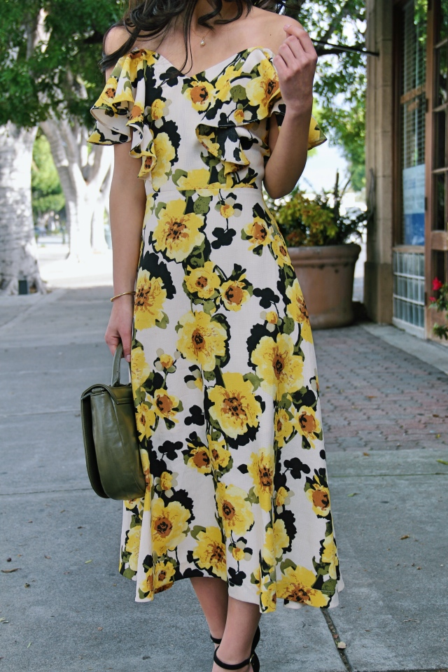 modcloth J.O.A. yellow floral off shoulder midi dress spring