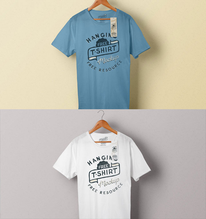 T-Shirt Hanging on Hanger PSD Mockup