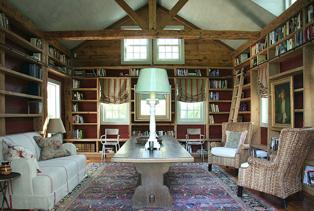 Rustic elegant library in Barn conversion home by Carrier and Company