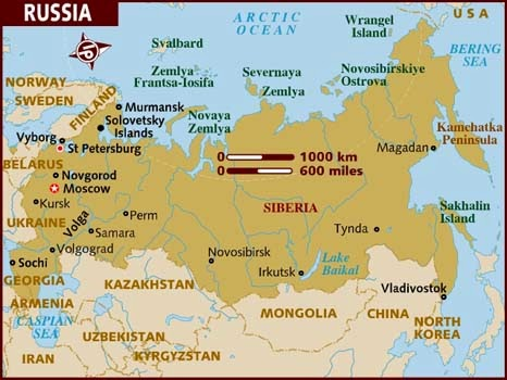 Russia Landforms Map