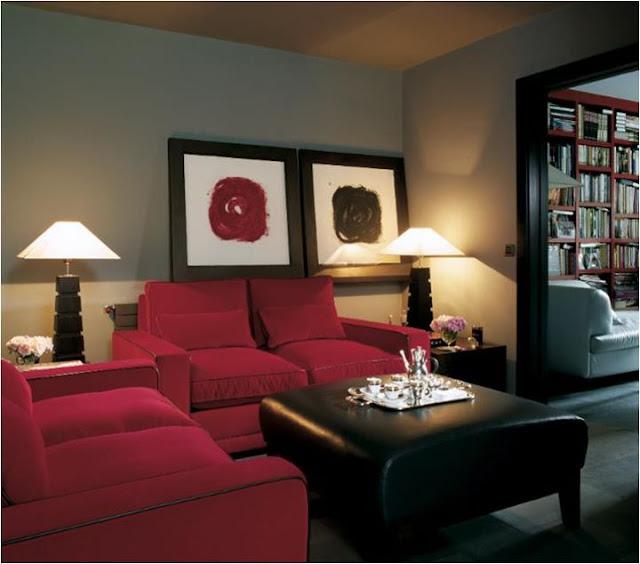 Salas Rojo Y Negro Salas Y Comedores Decoracion De Living
