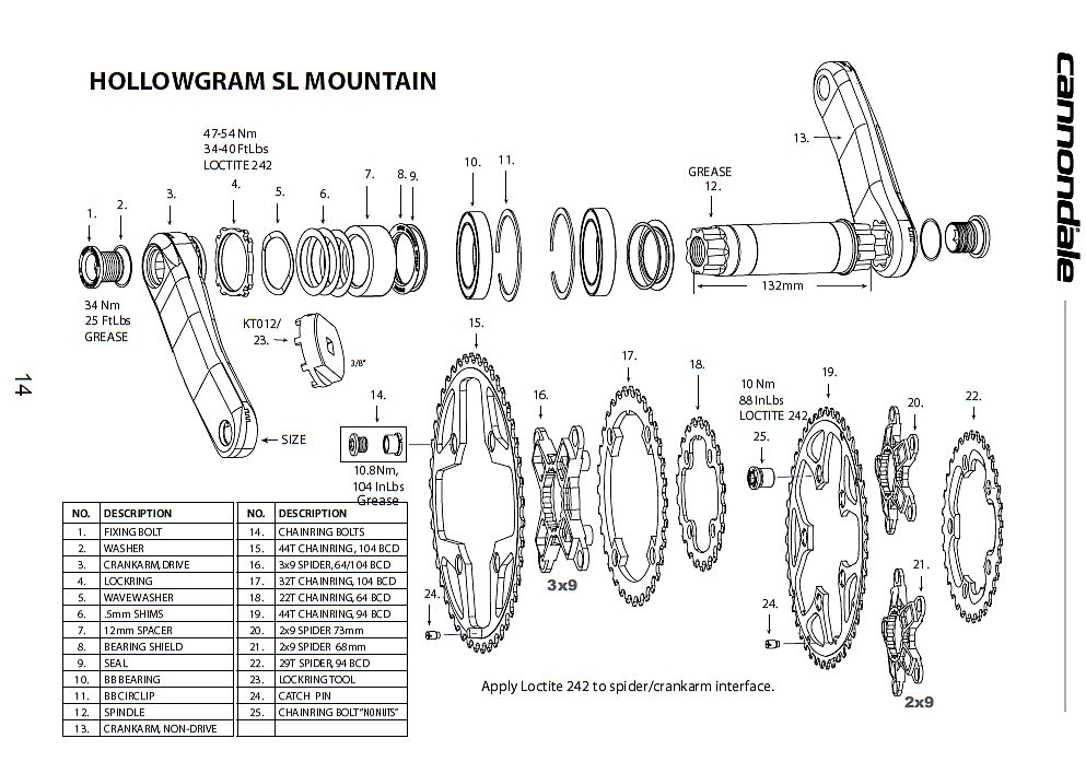 Cannondale Hollowgram SL Crankset Owner's Manual
