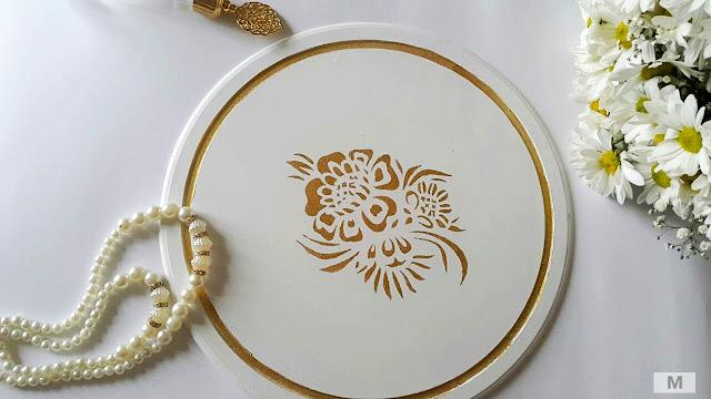 Yuvarlak ahşap supla boyama ve stencil tekniği