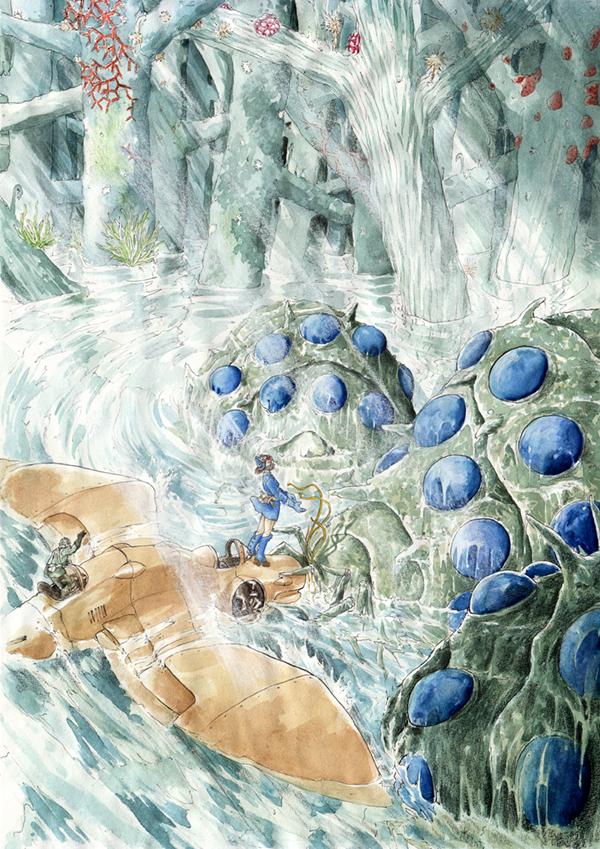 Nausicaä rencontre les Ômus - fanart Miyasaki