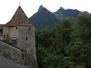 Tower and wall of the Château de Gruyères, Gruyères, Switzerland