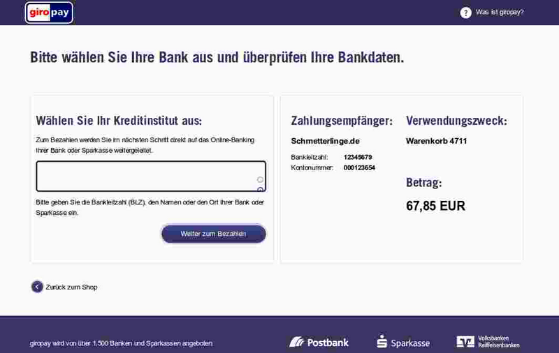 Giropay Bank Zahlung Screen