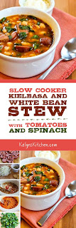 Slow Cooker Kielbasa and White Bean Stew with Tomatoes and Spinach found on KalynsKitchen.com