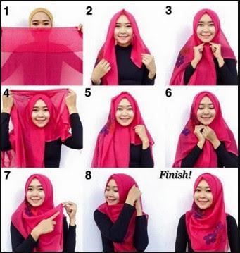 cara memakai jilbab segiempat