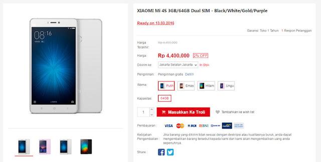Xiaomi Mi 4s sudah tersedia di pasar Indonesia dengan harga 4,4 jutaan