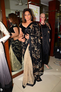 Neetu Chandra in Black Saree at Designer Sandhya Singh Store Launch Mumbai (52).jpg