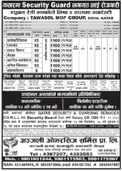 Jobs in Qatar for Nepali, Salary Rs 31,165