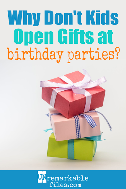 The last several birthday parties for kids we've attended haven't opened any gifts. The presents were collected in a bin like a cover charge to get into the party, and that was that. Here's why I think the old tradition of opening gifts at kids birthday parties should make a comeback, especially as a way to teach about the importance of gratitude and saying thank you. #kids #birthdayparties #gifts #presents #teachinggratitude #unremarkablefiles