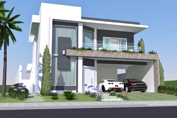 Construindo minha casa clean fachadas de sobrados for Fachadas de casas modernas de 120 metros cuadrados