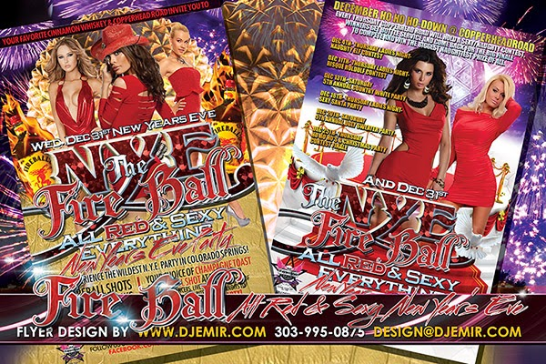 NYE Fireball All Red And Sexy Red Attire New Year's Eve Party Flyer Design Colorado Springs, CO