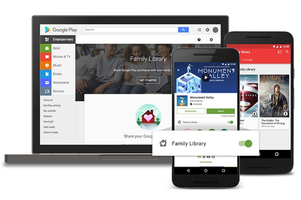 Google Play Family Library introduced, lets you share purchased apps, games, movies, TV shows and books with up to 6 family members