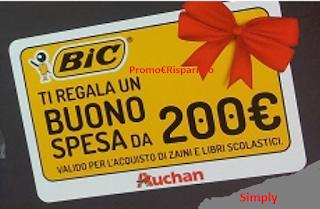 Logo Vinci buoni spesa da 50,100 e 200 euro con Bic