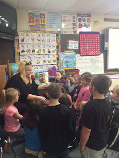 Teacher talking to kids