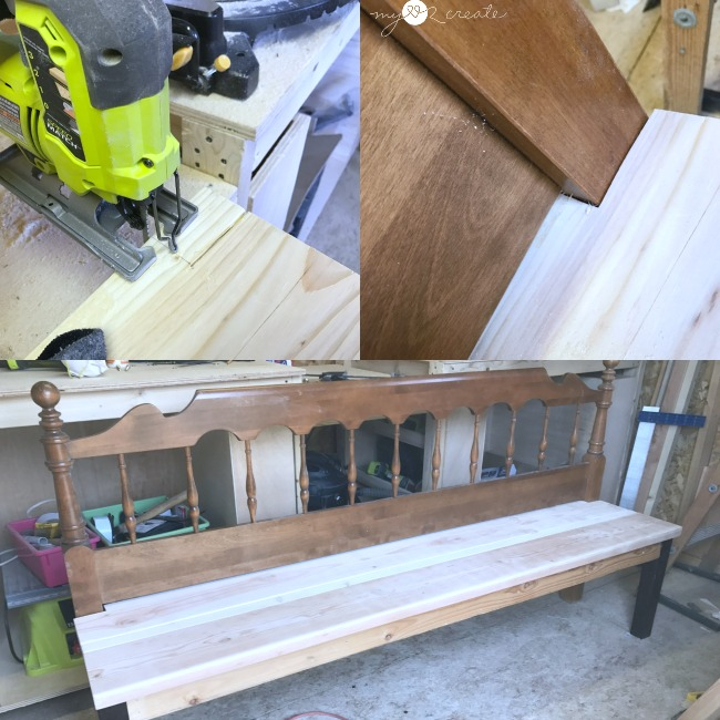 notching out the seat for a headboard bench with a jigsaw