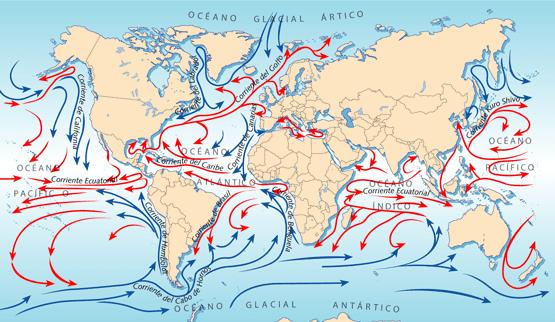 Resultado de imagen de corrientes marinas dibujo