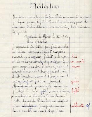 Cahier de devoirs mensuels Progrès NF, élève Isabelle B., classe de CEP, 1956 (collection musée)
