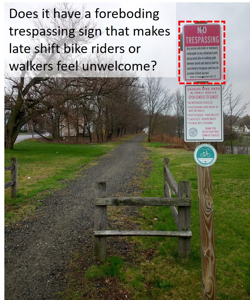 creepy no trespassing signs on the saugus ma greenway and a nice stone dust path