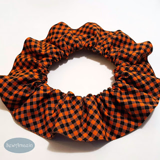 Halloween Pet Scrunchie Ruffle, Checkered Plaid Orange and Black