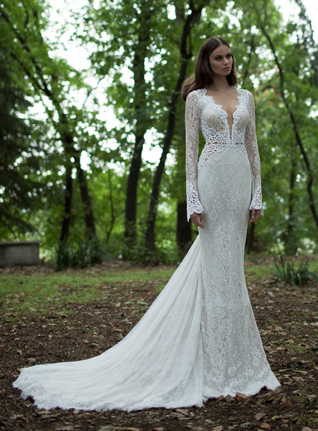 Customized Exeter Sexy Trumpet/Mermad Full-Sleeve Lace Wedding Dresses