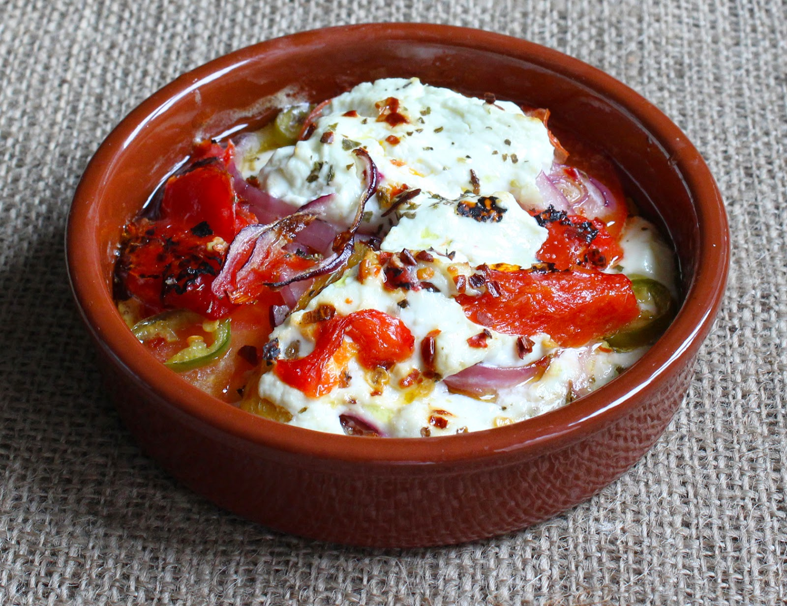 Low Fat - Greek-style Baked Yogurt Tomatoes Peppers Onions and Chilli