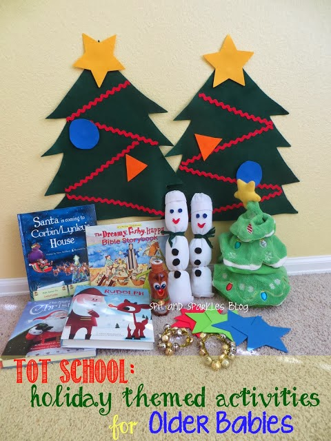 DIY holiday-themed activities for older babies #totschool #earlylearning #homeschool #DIY