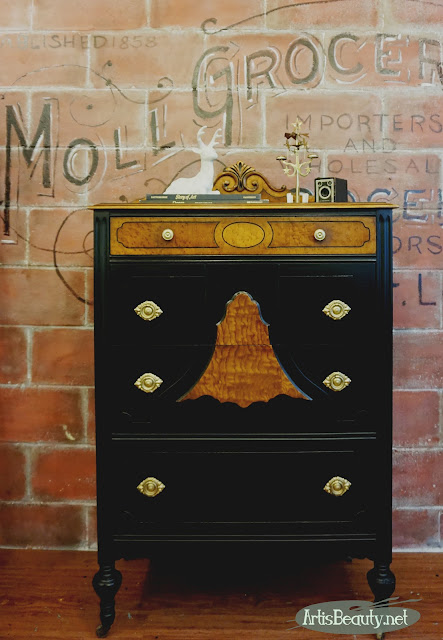 Antique Vintage Depression Era Two toned Chest of drawers dresser makeover General finishes milk paint lamp black before and after karin chudy