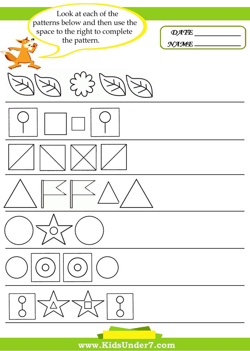 Preschool Pattern Recognition Worksheets. Preschool. Best ...