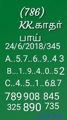 Pournami RN-345 lottery final Kerala Lottery guessing by KK on 24-06-2018