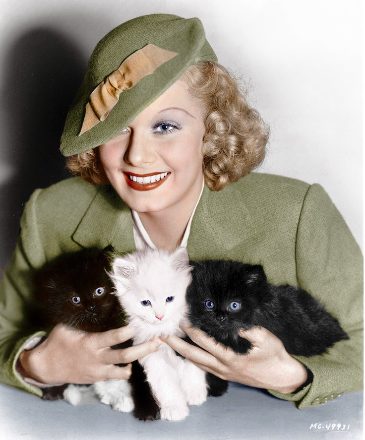 Image result for vintage movie stars and their cats