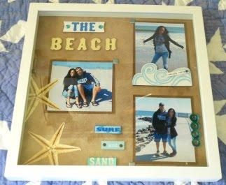Beach Theme - Framed Scrapbooking Shadow Box Layout Idea